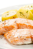 Roasted salmon and boiled potatoes Royalty Free Stock Photo