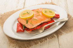 Roasted salmon filet on red paprika, with lemon and rosemary Royalty Free Stock Images