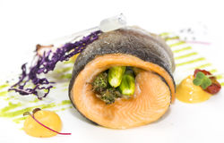 Roasted salmon fillet with asparagu Stock Images
