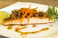 Roasted salmon fillet Stock Photography