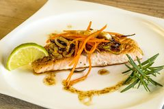 Roasted salmon fillet Stock Photo