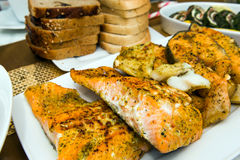 Roasted salmon fillets Stock Images