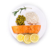 Roasted salmon fillets with rice. Royalty Free Stock Photos