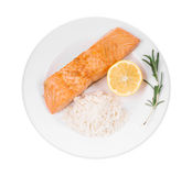 Roasted salmon fillets with rice. Royalty Free Stock Image