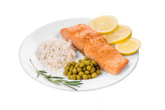 Roasted salmon fillets with rice. Stock Photos
