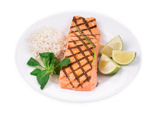 Roasted salmon fillets with rice. Stock Images