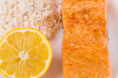 Roasted salmon fillets with rice. Stock Photography
