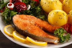 Roasted salmon Royalty Free Stock Photos