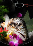 Roasted salmon fish head Stock Images