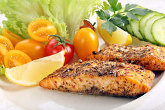 Roasted salmon with herbs and vegetables.  Royalty Free Stock Image
