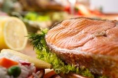 Roasted salmon with lemon Royalty Free Stock Photos