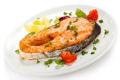 Roasted salmon with potatoes Stock Photo