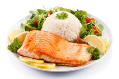 Roasted salmon with rice Royalty Free Stock Image