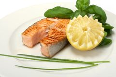 Roasted salmon steak Stock Photography