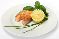 Roasted salmon steak Stock Images