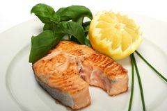 Roasted salmon steak Royalty Free Stock Photography