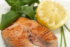 Roasted salmon steak Royalty Free Stock Photos
