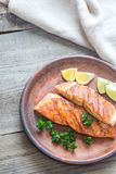 Roasted salmon steak with fresh parsley royalty free stock images
