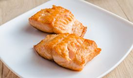 Roasted salmon steak Royalty Free Stock Photo