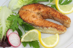 Roasted salmon steak Stock Photos