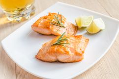 Roasted salmon steak Royalty Free Stock Image