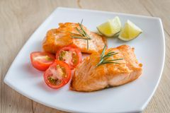 Roasted salmon steak Stock Image