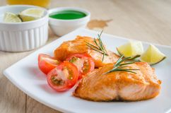 Roasted salmon steak Royalty Free Stock Images