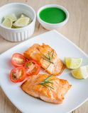 Roasted salmon steak Stock Photos