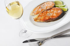 Roasted salmon steaks Royalty Free Stock Images