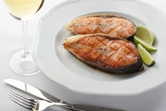 Roasted salmon steaks Stock Images