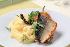 Roasted salmon trout fillet stock images