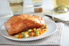 Roasted salmon with vegetables Royalty Free Stock Photo