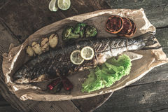 Roasted salmon and vegetables Royalty Free Stock Photos