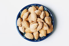 Roasted salted almond nuts in nutshell Royalty Free Stock Photos