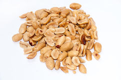 Roasted salted peanuts on a white background Royalty Free Stock Images