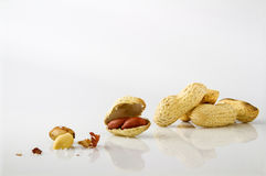 Roasted salted peanuts. On a white background Royalty Free Stock Photos