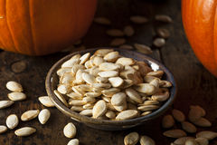 Roasted Salty Pumpkin Seeds. Ready to Eat Stock Image