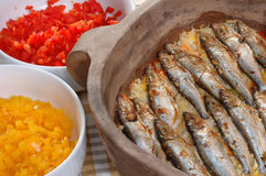 Roasted sardines with rice Stock Image
