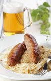 Roasted sausages and beer Royalty Free Stock Photo