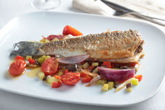 Roasted sea bass with vegetables Stock Photos