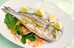 Roasted sea bream. Grilled fish served at the table Royalty Free Stock Images