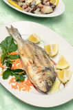 Roasted sea bream. Grilled fish served at the table Stock Photography