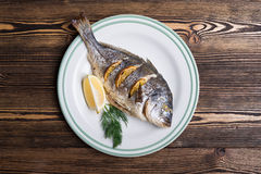 Roasted sea fish Royalty Free Stock Images