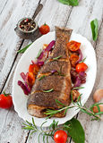 Roasted seabass with vegetables Royalty Free Stock Photography
