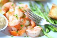 Free Roasted Shrimp And Asparagus Dinner Royalty Free Stock Photography - 83409347