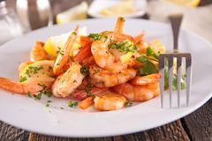 Roasted shrimp Stock Image