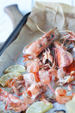 Roasted shrimp shells in a roasting tin Royalty Free Stock Photos