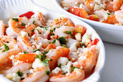 Roasted shrimp with tomatoes and feta cheese Royalty Free Stock Images