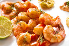 The roasted shrimps Stock Photography