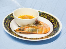 Roasted shrimps with sea food sauce.  Royalty Free Stock Images